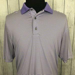Footjoy M Purple & White Striped Polo Shirt